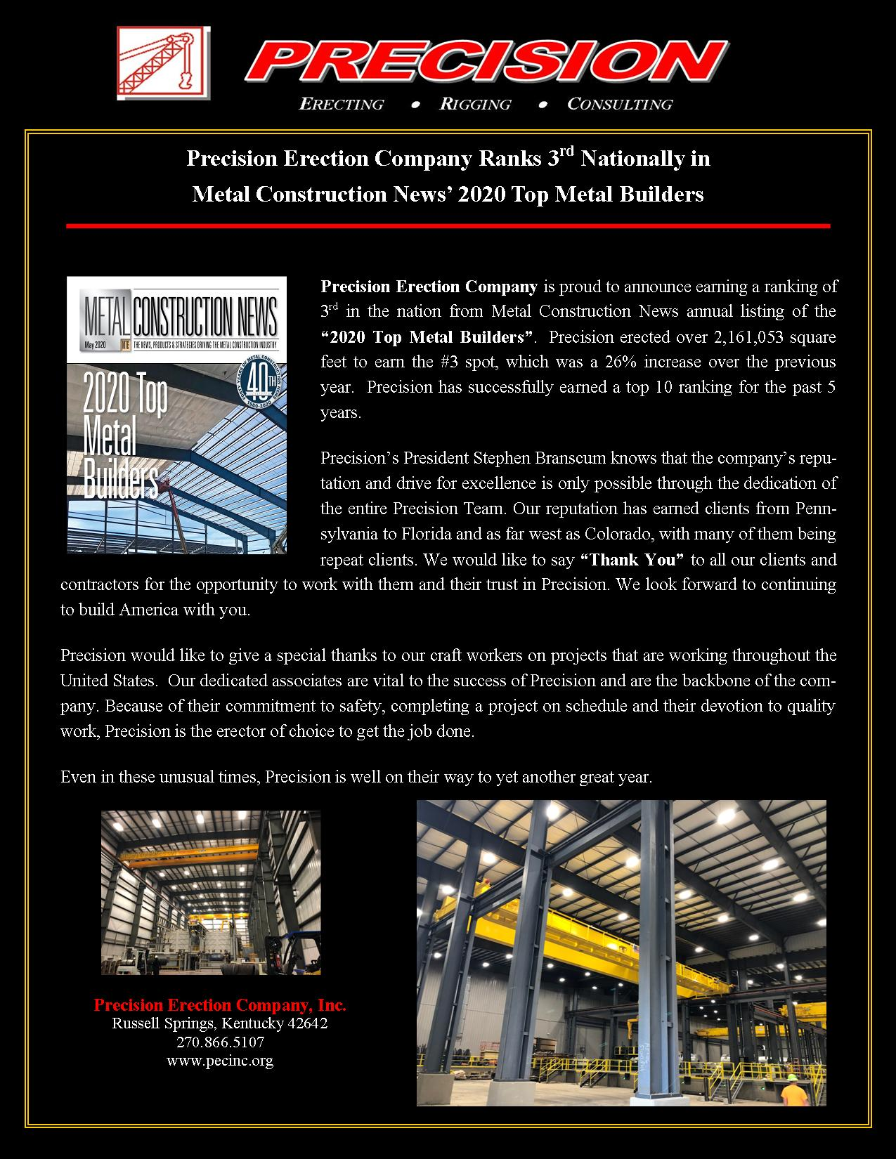 Precision Ranks 3rd Nationally In The 2020 Top Metal Builders